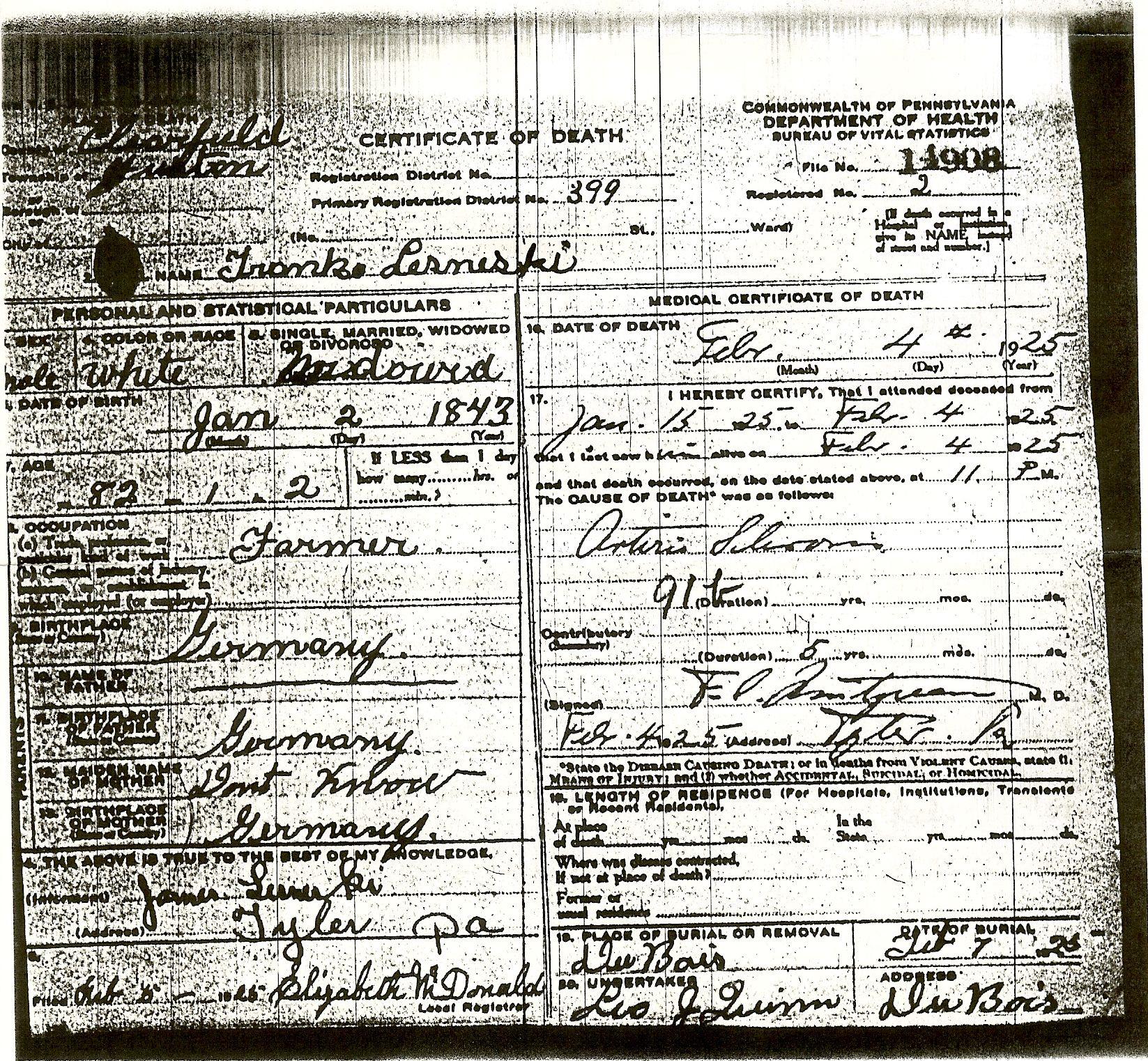 Lesneski Family History